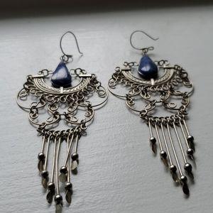 Lapis stone and silver tone boho earrings